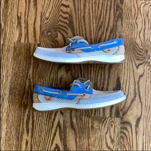 Sperry Women's Blue and Cream Top Siders